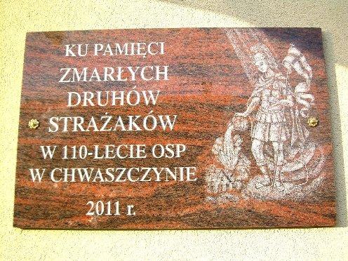 tablica ku pamięci strażaków w Chwaszczynie