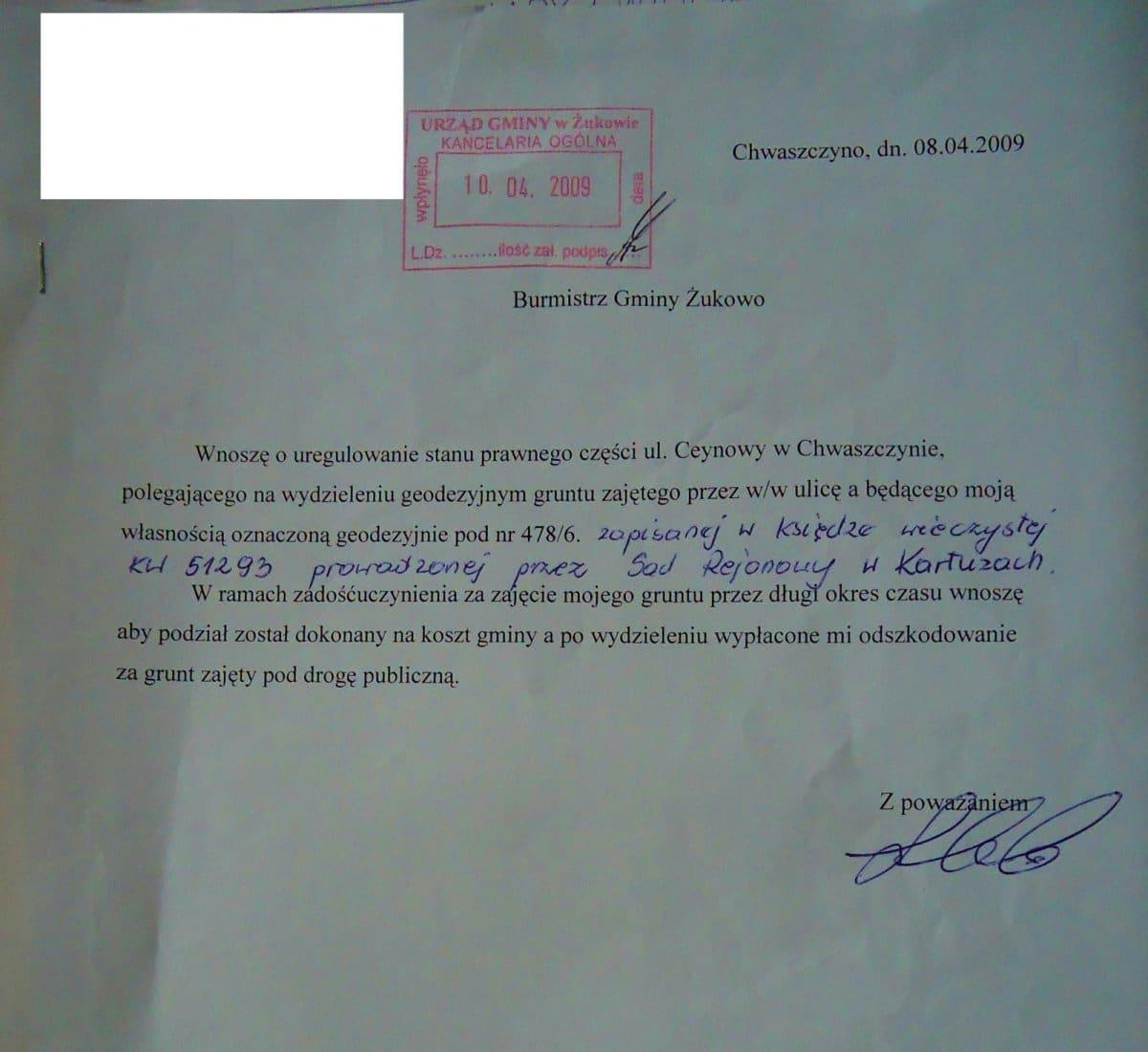 pismo na jakie Urząd Gminy w Żukowie nie odpowiedział przez prawie trzy lata