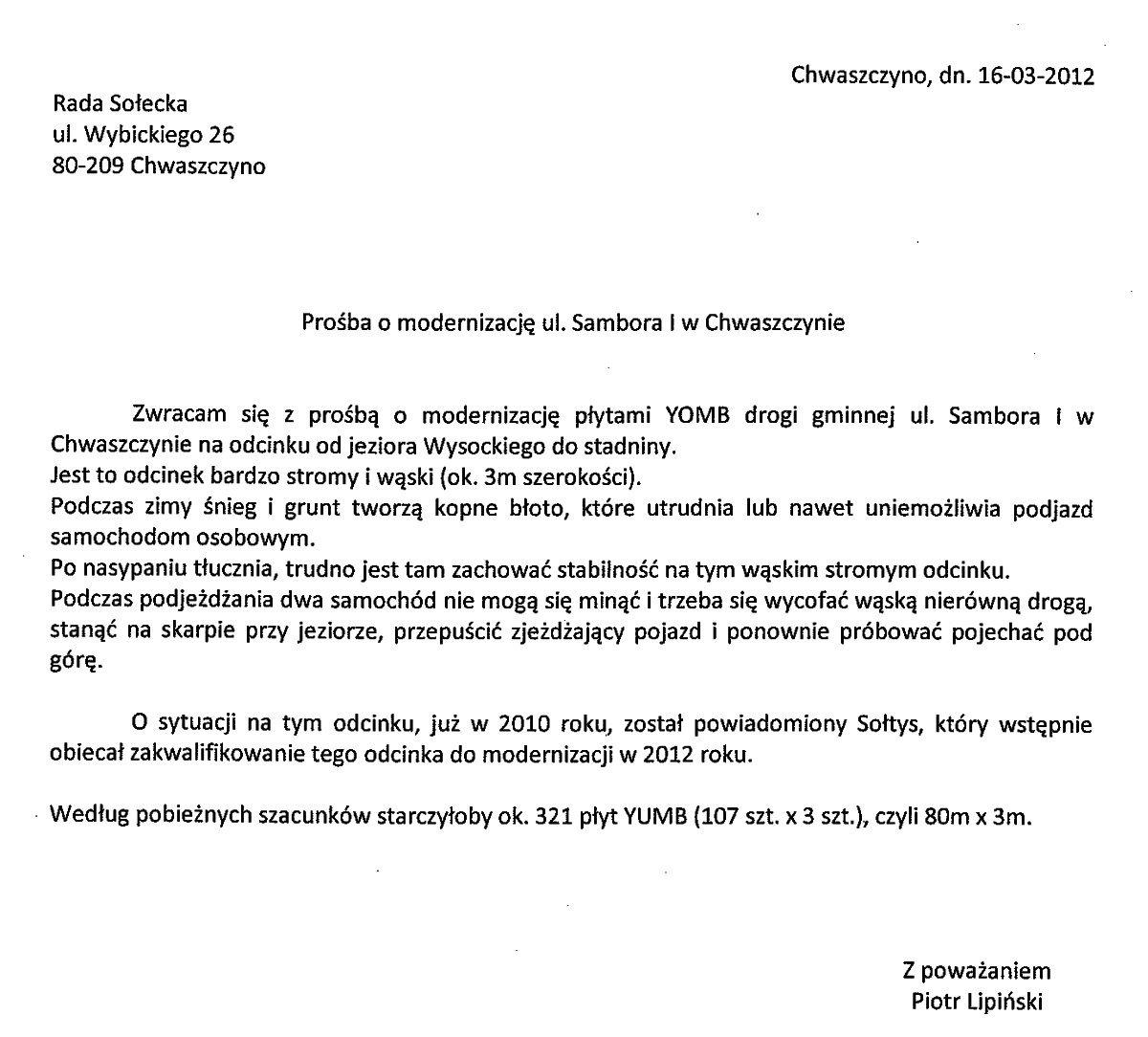 Sambora YOMB-1-pismo-Piotra-Lipinskiego