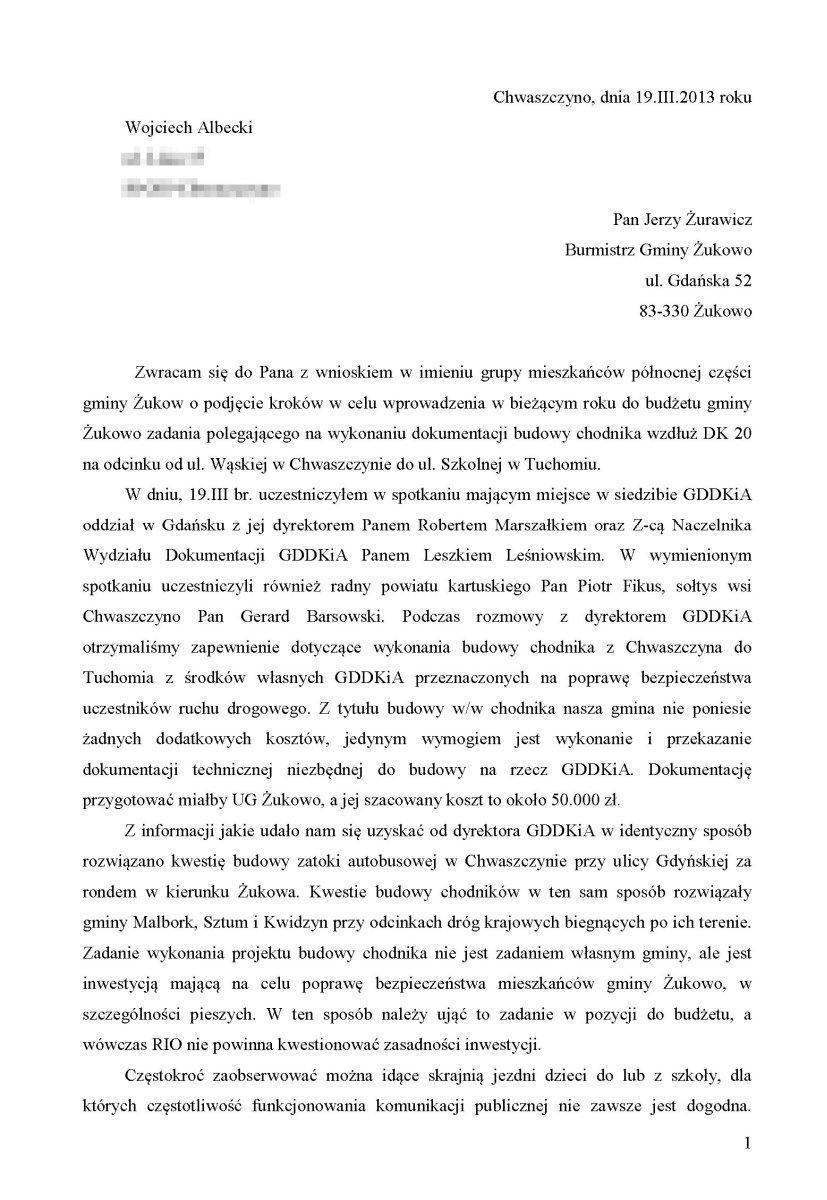 Petycja chodnik Chwaszczyno-Tuchom-1