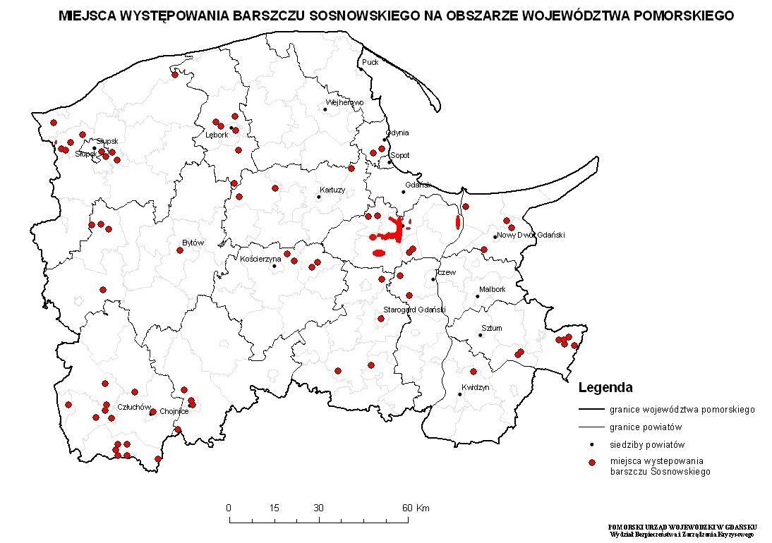 mapa wystepowania barszczu Sosnowskiego