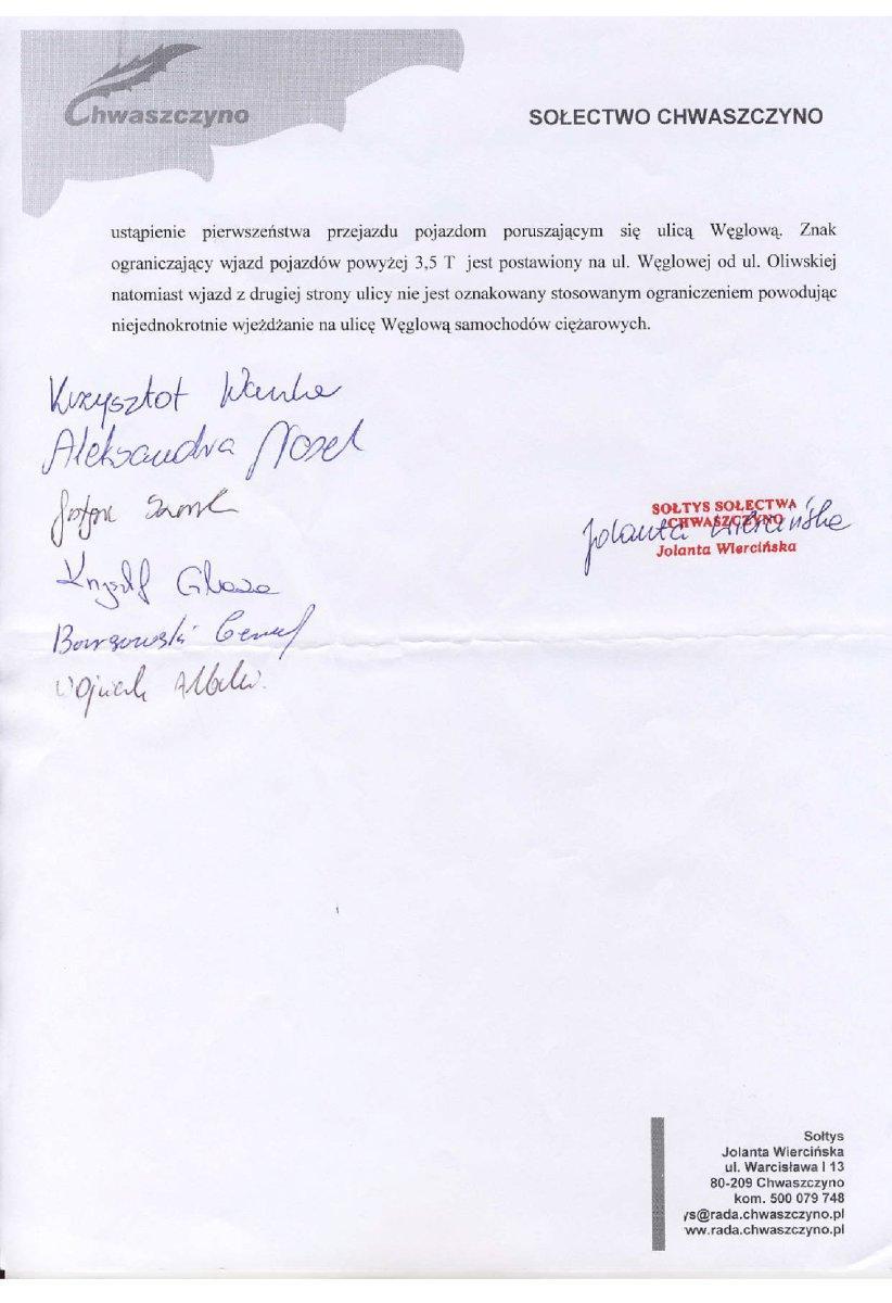 pismo dot koncencji zagospodarowania terenu przy weglowej2