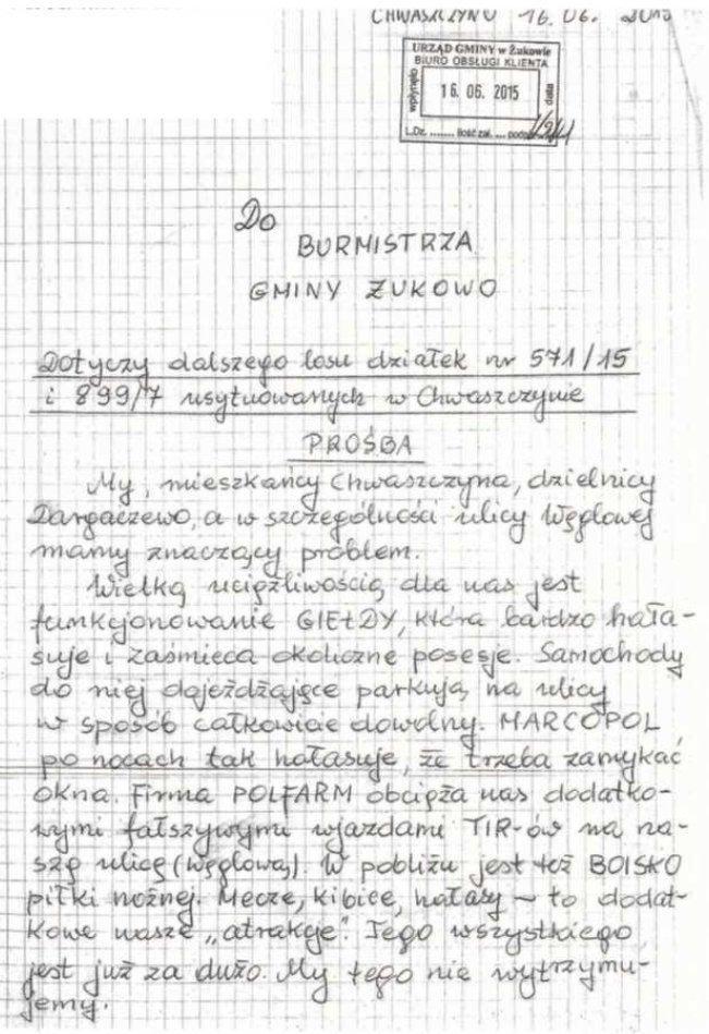 pismo mieszkancow dot funkcjonowania gieldy w chwaszczynie