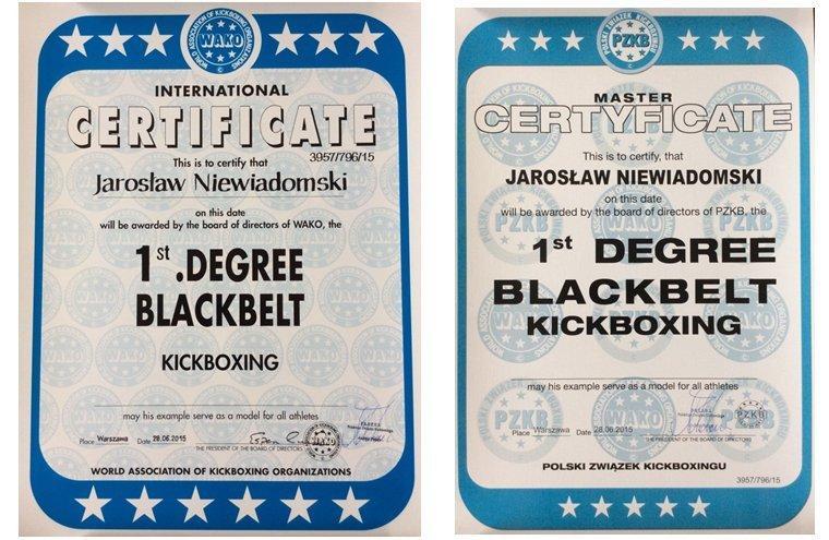 certyfikat kickboxing Jaroslaw Niewiadomski